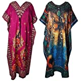 Ukal Combo Pack of 2 Women's Beautiful Print Maxi Long Sleeves/Night Gown/Nightwear/Nightdress