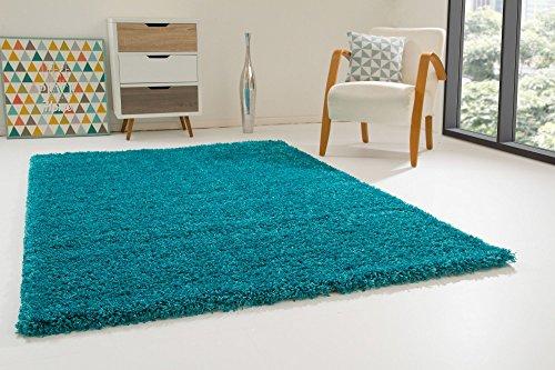 Shaggy Hochflor Teppich Happy XL Langflor Teppich in Türkis mit Öko-Tex Siegel, Größe: 65x130 cm
