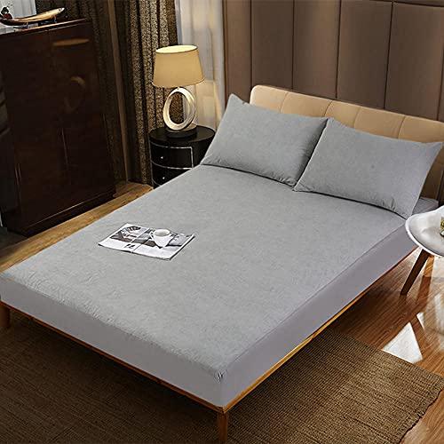 CYYyang Protector de colchón Transpirable.Rizo Bambú. Sábana Impermeable Color Puro Anti-ácaros-Gris_180 * 200 + 30cm