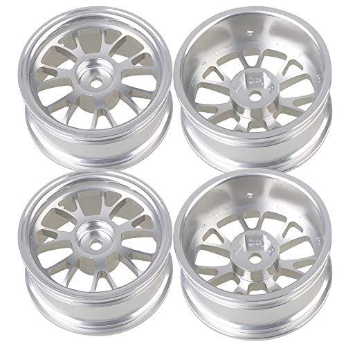 Mxfans 4PCS RC Silver Y-Shape Wheel Rim Aluminum Alloy Dia 52mm Fits for 1/10 On-Road Car & Drift Car