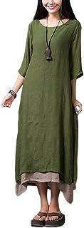 Romacci فستان ماكسي كاجوال للنساء كلاسيكي نمط صيني طبقات فضفاض بوهو طويل اخضر جيشي XXL