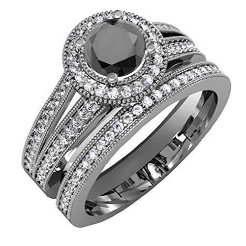 Dazzlingrock Collection 1.25 Carat (ctw) Black Rhodium Plated 10K White and Black Diamond Bridal Ring Set, White Gold, Size 6