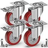 GBL® Set di 4 Rosso Rotelle Piroettanti 100mm 600KG Ruote Rotelle Girevoli per Sedie da U...