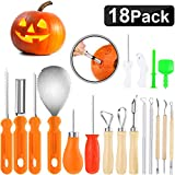 18 Pack Halloween Pumpkin Carving Kit, Includes 8 Pack Stainless Steel Pumpkin Carving Tools, 5 Pack...