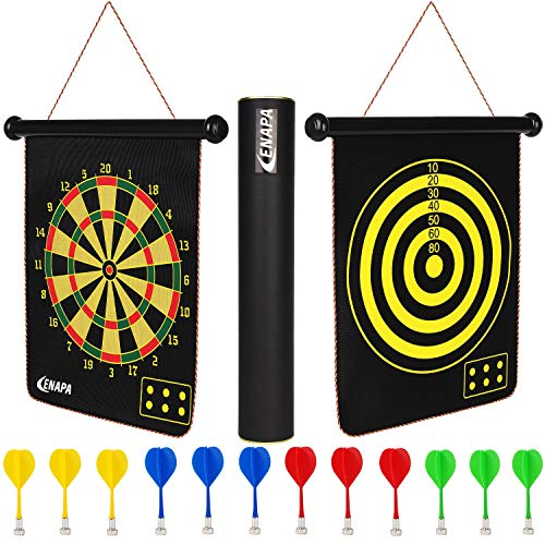 ENAPA Magnetic Dart Board for Kids - Safe Magnetic Darts - Outdoor and Indoor Dart Board Game for Boys and Adults - Kids Dart Game - Double Sided Dartboard - Game Set with 12 Safety Darts