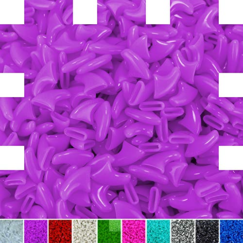 zetpo 100 pcs Cat Claw Caps for Cats Nail Claws with Adhesives and Applicators (M, Purple)