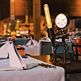 HTOUR Lámpara de Mesa de Robot de tubería de Agua Industrial Moderna Negra, lámpara de Mesa de decoración de Barra de Restaurante de Dormitorio de Biblioteca Escolar