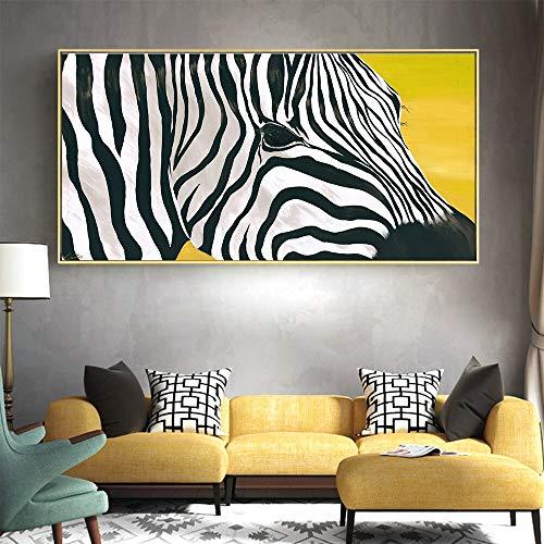 QWESFX Großer gelber Hintergrund Tier Zebra Nordic Leinwand Malerei Kunst Wandkunst Bilddruck auf Leinwand Wohnkultur (Druck ohne Rahmen) E 60x120CM