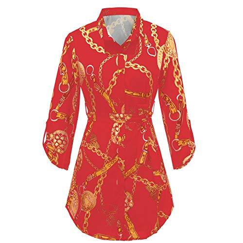Camisa de Manga Larga con Cuello en V Formal para Mujer, Estampado Retro de Moda, Blusa de Negocios de Oficina de Trabajo con Solapa Abotonada 5XL