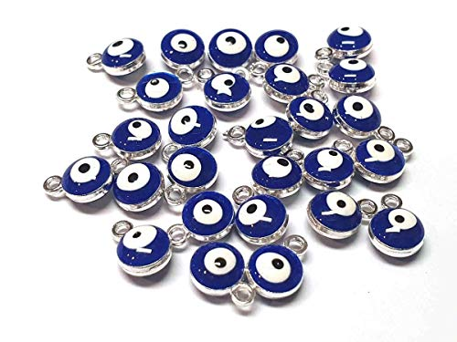 Nazar Boncugu Schmuckanhänger kettenanhänger armband emaillierte Amulett anhänger, 10 Stück, Blaues Auge, Evil Eye, DIY-Schmuck Farbauswahl (Silber)