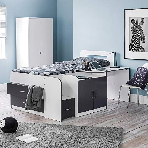 Mid Sleeper with Storage, Happy Beds Cookie White Charcoal Grey Multicolour Wood Modern Cabin Bed - 3ft Single (90 x 190 cm) with Memory Foam Mattress Included