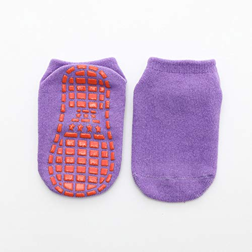 LiangWan Calcetines Antideslizantes para Hombres y Mujeres | Hospital Antideslizante, Barre, Pilates, Maternidad, Ballet,Purple-M