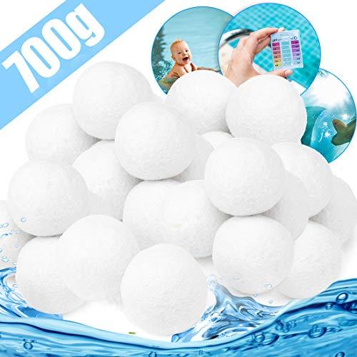 Filterbälle Filter Balls 700g Ersetzen 25kg Filtersand Zubehör Ersatz Poolfilter Filteranlage, Extra langlebige Filter Balls für Glasklares Wasser Im Pool, Schwimmbad, Filterpumpe, Aquarium