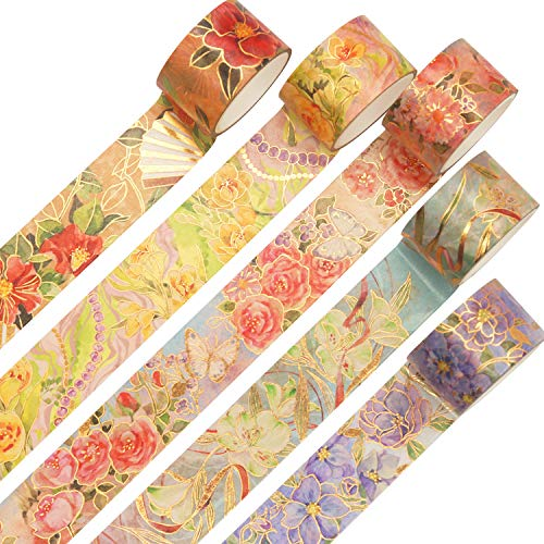YUBBAEX Blooming Washi Tape Set Gold Foil Masking Tape Peony Wide Decorative for Arts, DIY Crafts, Bullet Journal Supplies, Planners, Scrapbook, Card/Gift Wrapping -25mm-