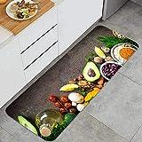 YANAIX Alfombra Cocina,Fondo de Comida Vegetariana Alimentos orgánicos para Veganos saludables,para Piso hogar Oficina Fregadero lavandería súper Absorbente Antideslizante