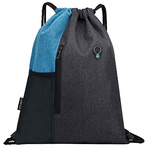 LIVACASA Drawstrings Backpacks Bags for Men Women Gym Drawstring Bags USB Port Headphone Hole Waterproof Light Blue