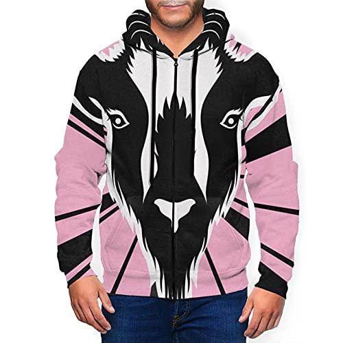 Sudadera con capucha para hombre con cremallera completa con capucha y diseño clásico con capucha, Cabeza de cabra rosa radiante líneas Starburst negro, L