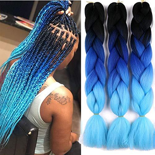 Zonghao Haar Jumbo Flechten Haarverlängerungen 6 Packs 24 zoll Bunte Synthetische Haar für DIY Häkeln Box Braid Haarköpfe Ombre 3 Ton Farbe 100 gr/stück 61 cm (Ombre Blau)