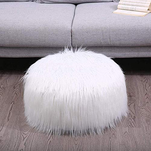 Comfortabel Zhuyue Faux Schapenvacht zitzak zachte vacht Bean Bag Fluffy Kleine Ronde Lazy Bean Bag Sofa Portable opblaasbare Christmas Decor-White_China