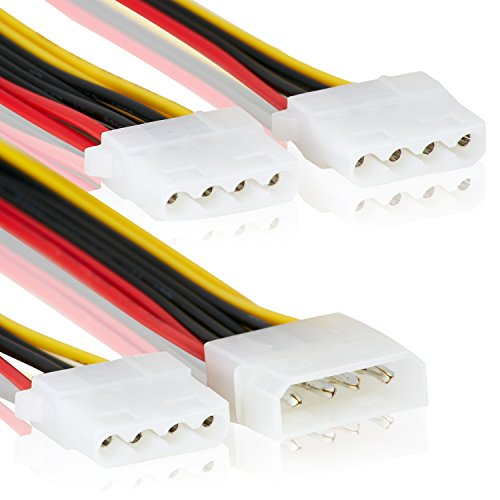 3 Fachstecker - Molex IDE 1 zu 4 Stecker | Mehrfachstecker | 20cm | Anschluss Stromstecker Splitter Y-Adapter Verteiler 3er Stecker Strom LP4 –MOVOJA