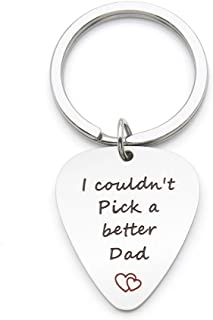 I Couldn't Pick a Better Dad I Pick You Stainless Steel Guitar Pick Keychain Fathers Day Gift for Dad Double Sided Engraved !