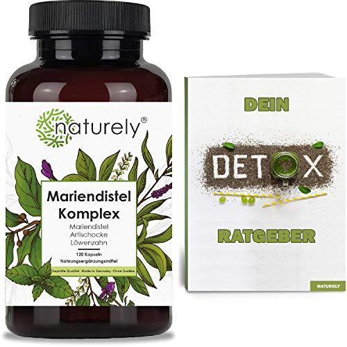 naturely® Premium Mariendistel Komplex mit Artischocke, Löwenzahn - inkl. Detox Ratgeber - 120 Kapseln - 80% Silymarin - Hochdosiert, vegan, laborgeprüft, hergestellt in DE