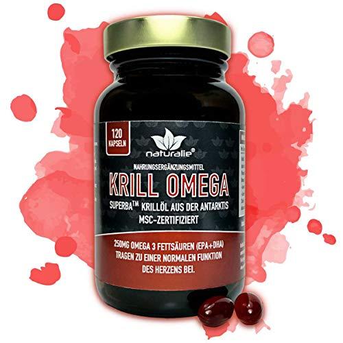 naturalie® - Krillöl Kapseln | SUPERBA™ BOOST | antarktischer Krill aus MSC-zertifiziertem und nachhaltigem Fang | laborgeprüfte Markenqualität | 120 Kapseln im Braunglas