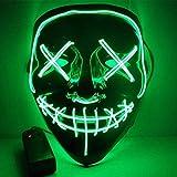 KQBAM Máscara Fiesta De Halloween Máscara Mascarada Máscaras De Luz De Neón Que Brillan En La Oscuridad Máscara Horror Maska Máscara Resplandeciente Purga, Azul Hielo, Verde