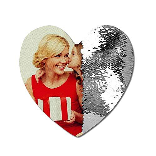 Foto personalizada Almohada con lentejuelas en forma de corazón Almohada mágica con lentejuelas personalizada Almohada con tapa Almohada reversible Decoración del hogar Cumpleaños de Navidad Regalo
