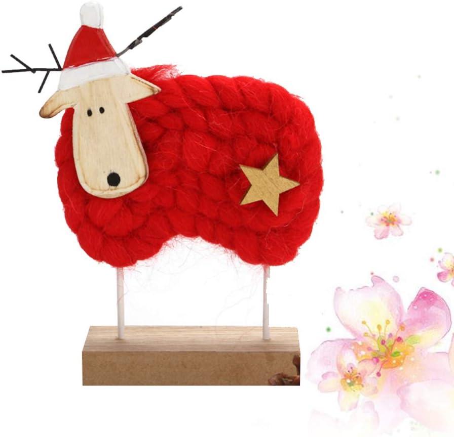 LIOOBO Christmas Wood Ornament Felt Sheep Desktop Decoration Figurine Collection Gift for Xmas Christmas Party