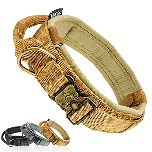 Fas Plus Tactical Dog Collar Adjustable Military Dog Collar Handle for Small Medium Large Dogs Thick Training Camo Collar Strong Heavy Duty Velcro K9 Collar Nylon with Metal Buckle and Flag(Khaki/S)
