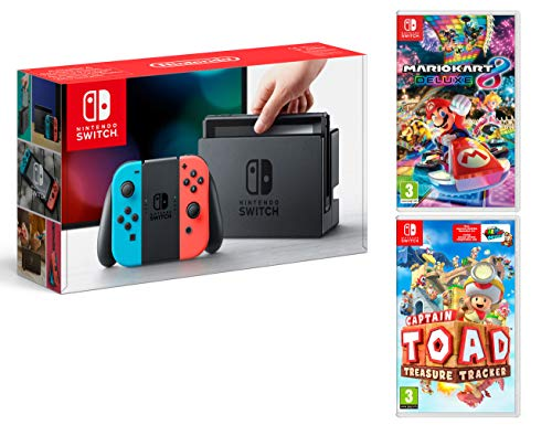 Nintendo Switch Rouge/Bleu Néon 32Go Pack + Mario Kart 8 Deluxe + Captain Toad: Treasure Tracker