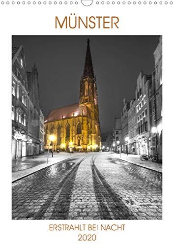 Münster - erstrahlt bei Nacht (Wandkalender 2020 DIN A3 hoch): Münster zeigt sich bei Nacht von der schönsten Seite (Monatskalender, 14 Seiten )