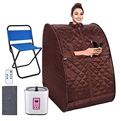 OppsDecor Portable Steam Sauna, Personal Therapeutic Sauna Spa for Weight Loss Detox Relaxation at Home,One Person Sauna with Remote Control,Foldable Chair