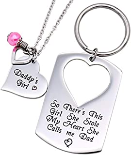 Gifts for Dad Necklace Jewelry, Father Daughter Keychain...