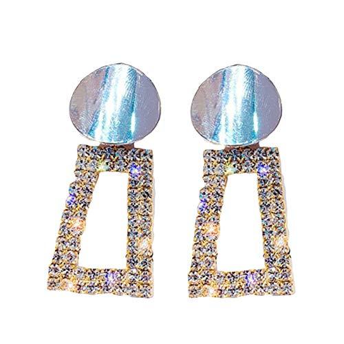 Ruby569y Pendientes colgantes para mujeres y niñas, con incrustaciones de diamantes de imitación de trapecio redondo geométrico, joyería regalo – colgante de plata