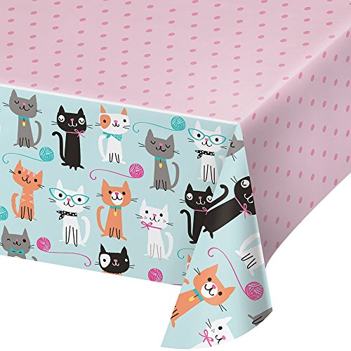 """Creative Converting Party Supplies, Purr-FECT Party Tablecover, Tableware, 102"""", Multicolor, 1ct"""