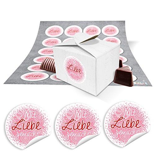 48 kleine witte geschenkdozen geschenkdozen verpakking voor geschenken 8 x 6,5 x 5,5 + sticker tekst met liefde zelfgemaakte roze-rood roze hart gestippeld als gastgeschenken, meegebeld