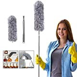Microfiber Feather Duster for Cleaning, 100' Extension Pole Telescoping Duster, Bendable & Washable Dusters for Clean Cobwebs, Ceiling Fan, High Ceiling, Blinds, Furniture, Cars