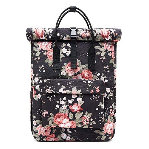 KALIDI Backpack Roll top Rucksack Women & Men School Bag Unisex Water-Resistant Casual Daypack fits 15 inch MacBook Laptop (Rose)