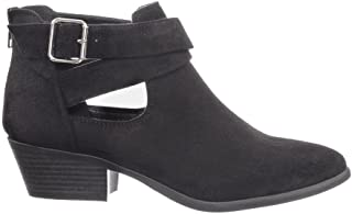 SODA More-s Women's Fashion Low Heel Zipper Buckle Western Ankle Booties Shoes