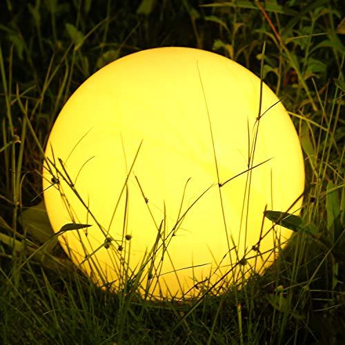 Albrillo RGB Luz Solar de Jardín - Iluminación Exterior LED de Globo de 30cm, Lámpara Esfera con 8 Colores Ajustables, IP68 Impermeable, Carga por Solar y USB, Luz Solar para Césped, Piscina, Patio