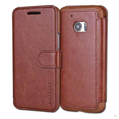 Mulbess Handyhülle für HTC 10 Hülle Leder, HTC 10 Handy Hüllen, Layered Flip Handytasche Schutzhülle für HTC 10 Hülle, Braun