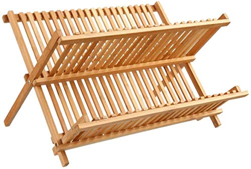 Tienda Eurasia® Escurreplatos de Bambu Plegable - 2 Niveles - Medidas: 42x33,20x27...