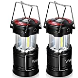 Wsky Rechargeable Camping Lantern - Best Camp Light Caming Lamp- High Lumen, Rechargeable, 4 Modes, Water Resistant Light - Camping, Outdoor, Emergency Flashlights Lanterns (1 Built-in Battery) 2 Pack