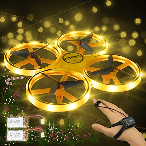 Andals Mini Drone for Kids Gesture Control Aircraft Hand Sensor Rc Quadcopter with Smart Watch Controlled, 2 Batteries (Light Yellow)