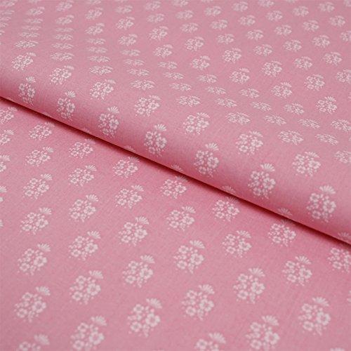 Hans-Textil-Shop Stoff Meterware Weiße Blumen Rosa Baumwolle