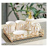 Dispensador de jabón de cocina Accesorios de baño set de baño de 6 piezas conjunto de lavado de estilo europeo cepillado de dientes enjuague bucal taza de elementos de baño conjunto de sistema de los