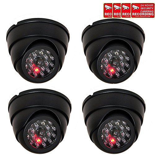 VideoSecu 4 Pack Dome Dummy Fake Infrared IR CCTV Surveillance Security Cameras Imitation Simulated...