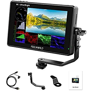 FEELWORLD LUT7 PRO 7 Inch 2200nits 3D LUT Touch Screen DSLR Camera Field Director AC Monitor with Waveform F970 External Power and Install Kit 4K HDMI Input Output 1920X1200 IPS Panel